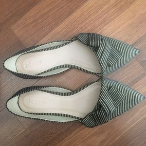 J.Crew Gold and Black Striped Flats w/bow detail.